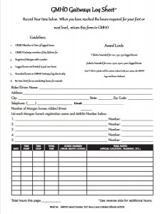Gaitways log sheet page 1